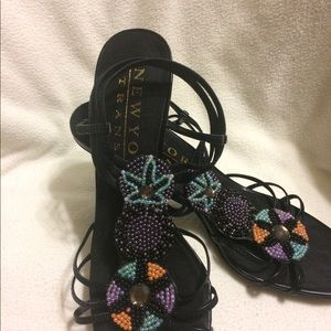 Black Sexy Strappy Heels w/ Beading - NWOT